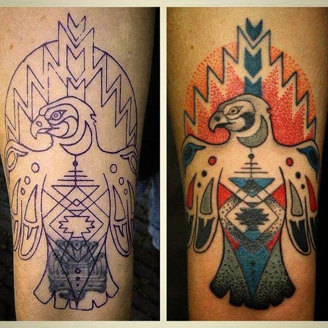 Daisy Schrijver On Instagram Cover Up Thunderbird Coverup Thunderbird Dotwork Native Nativeamerican Thunderbird Tattoo Tattoos Native American
