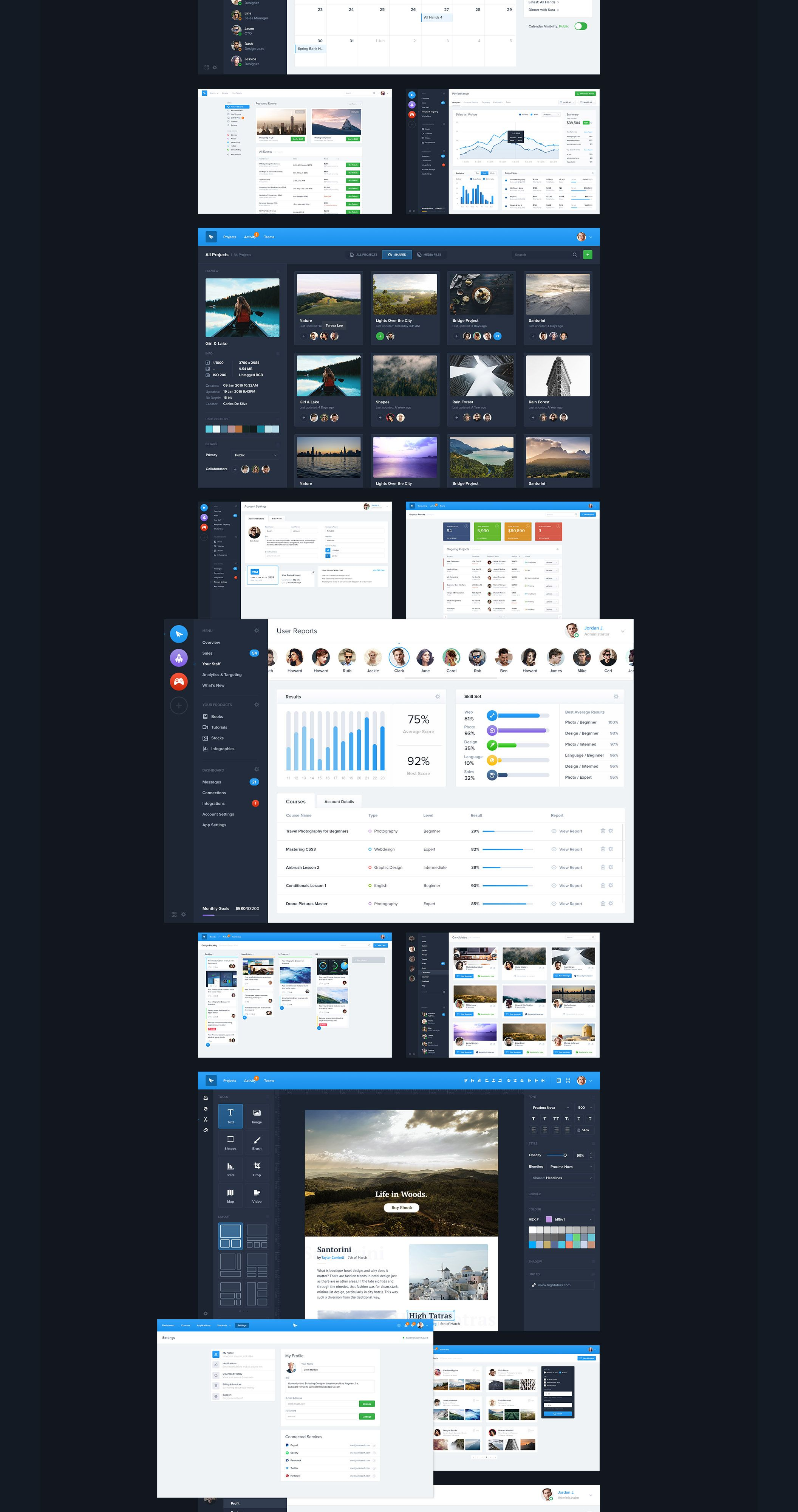 Biggest pack focusing on designs of Dashboard User Interfaces & Web Applications to help you quickly prototype and design beautiful interfaces.