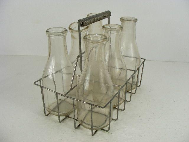 vintage old antique milkman milk bottle carrier and six. Black Bedroom Furniture Sets. Home Design Ideas