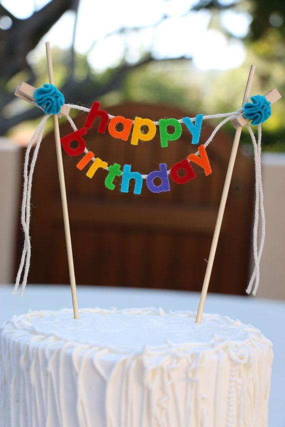 Birthday Cake Banner Topper By Pipsqueakandbean