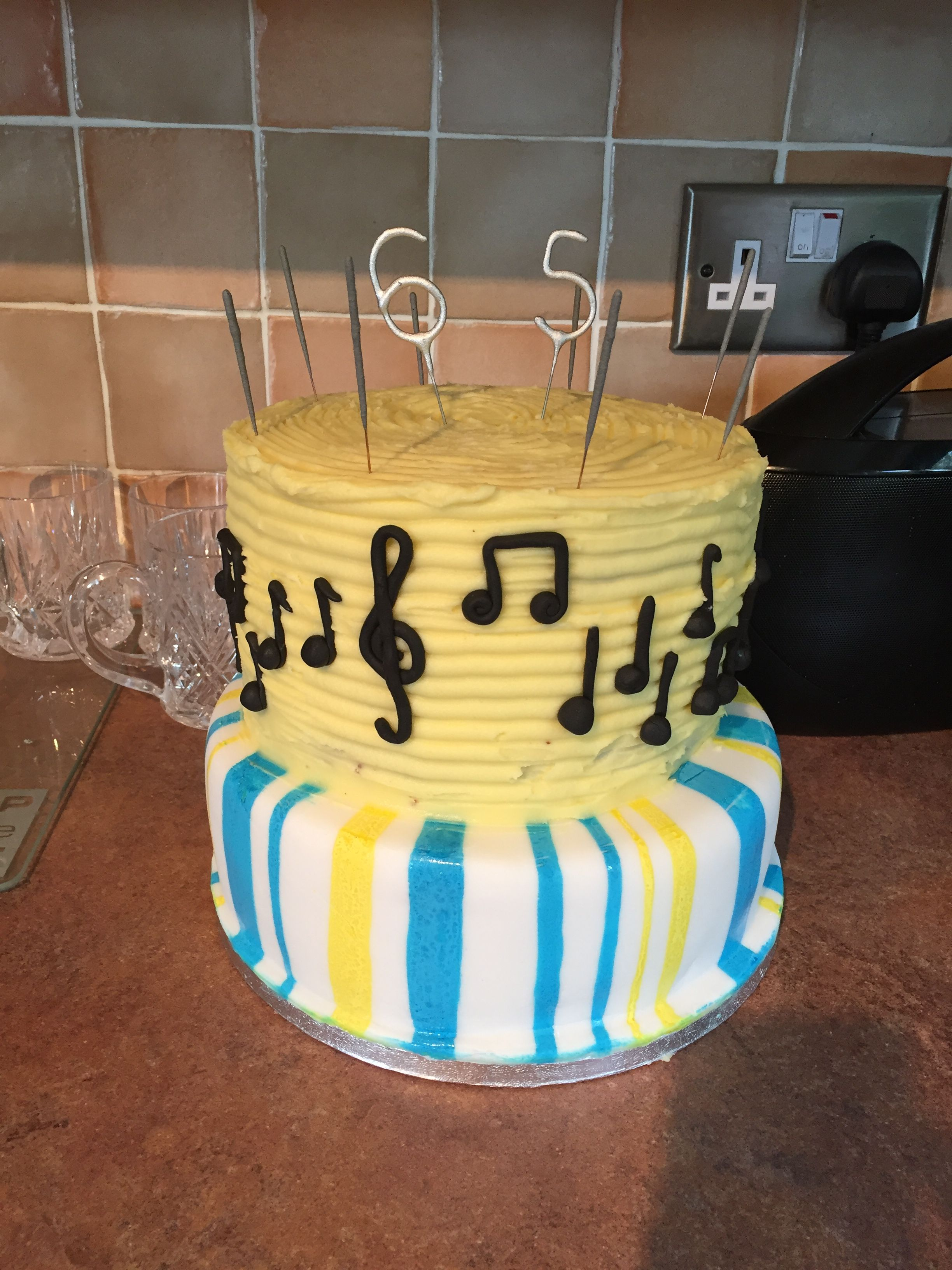 65th Birthday Cake For My Music Loving Dad Fruit Base With Marzipan And Fondant Icing Hand Painted Stripes Top Tier Of Cookies Cream Layer