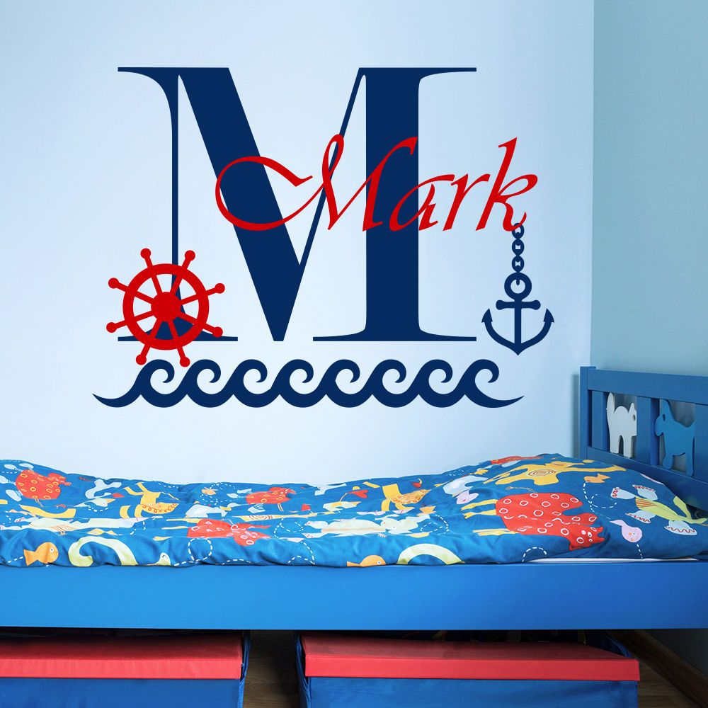 Personalize customize name boys room wall decal boat anchor sea personalize customize name boys room wall decal boat anchor sea wall sticker kids nursery name wall amipublicfo Gallery