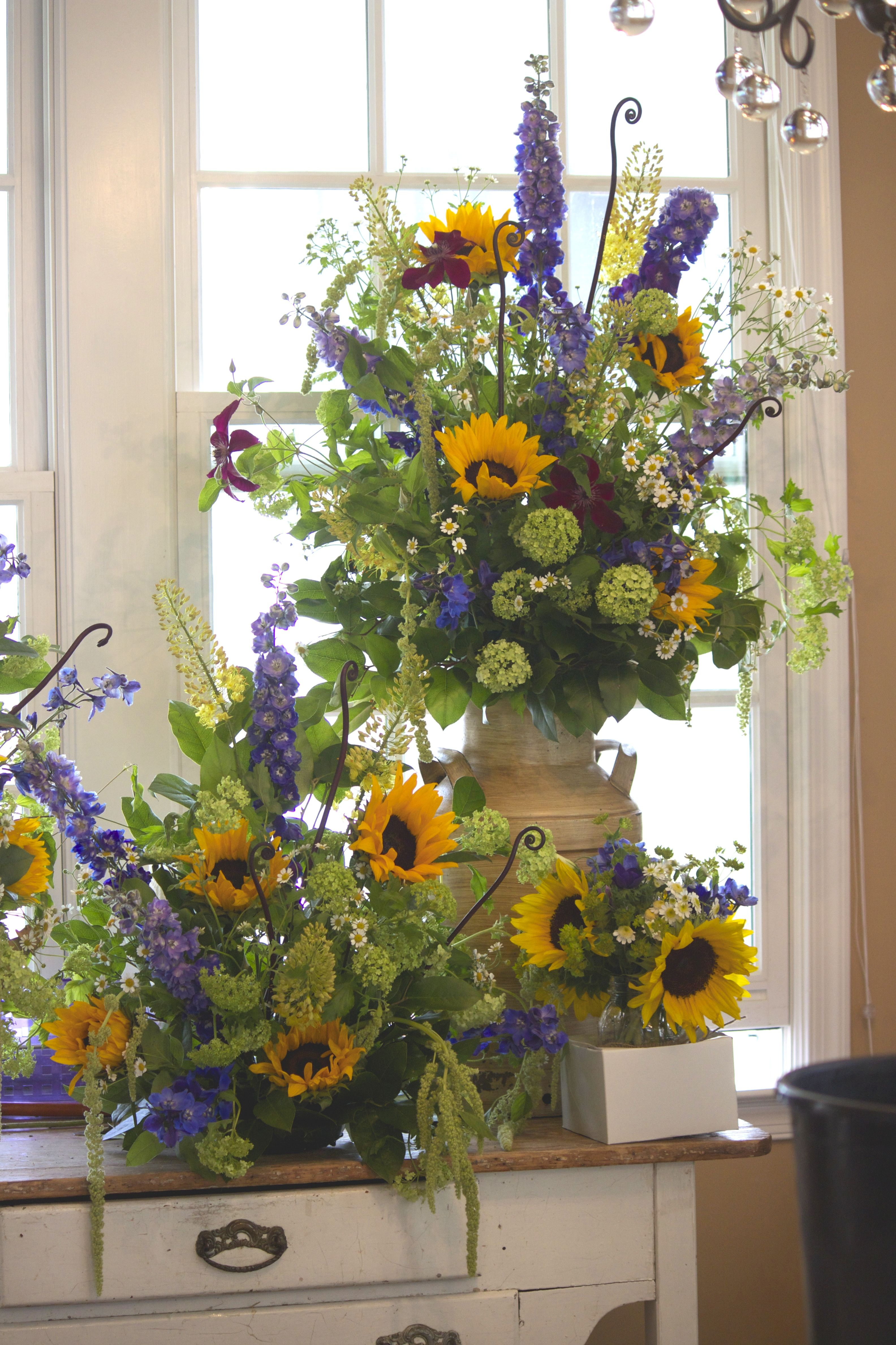 An old milk jug and low arrangement of sunflowers, Queen