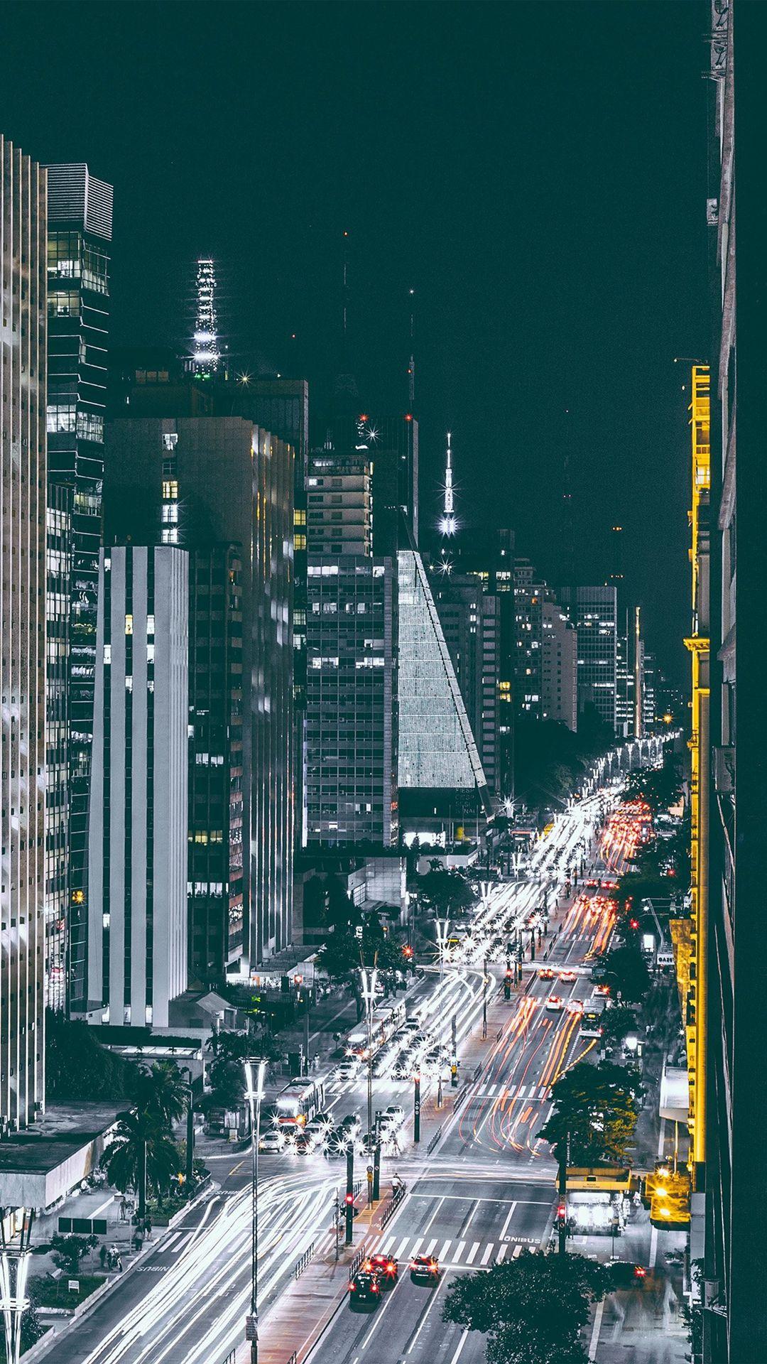 City Night View Urban Street iPhone 6 wallpaper