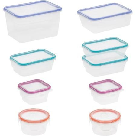 2188 Snapware Total Solution 18 Piece Plastic Container Set Clear