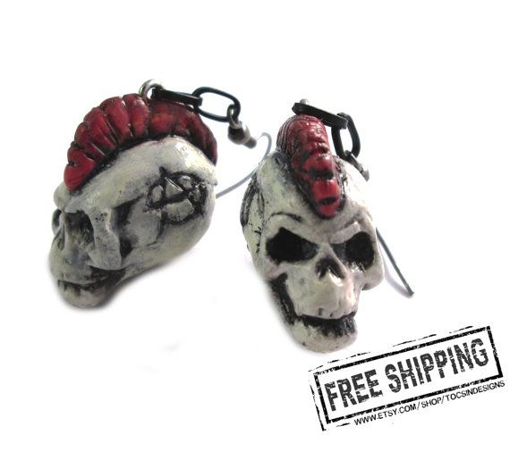 Mohawk skull earrings - crust punk earrings - anarcho punk - exploited skull jewelry - punk rock jewelry - diy punk rock earrings deathrock $19.82 USD