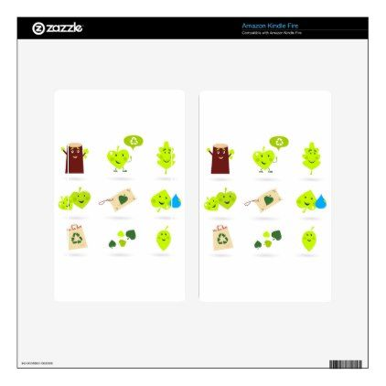Cute bio kids icons green skins for kindle fire - diy cyo