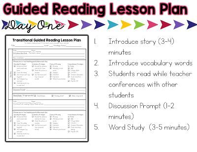 The Next Step in Guided Reading Chapter 5 (Transitional Readers - sample guided reading lesson plan template