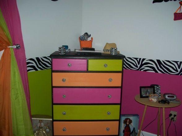 Zebra, Hot Pink, Lime Green, Orange, Bedroom, Teen Girls Zebra Bedroom