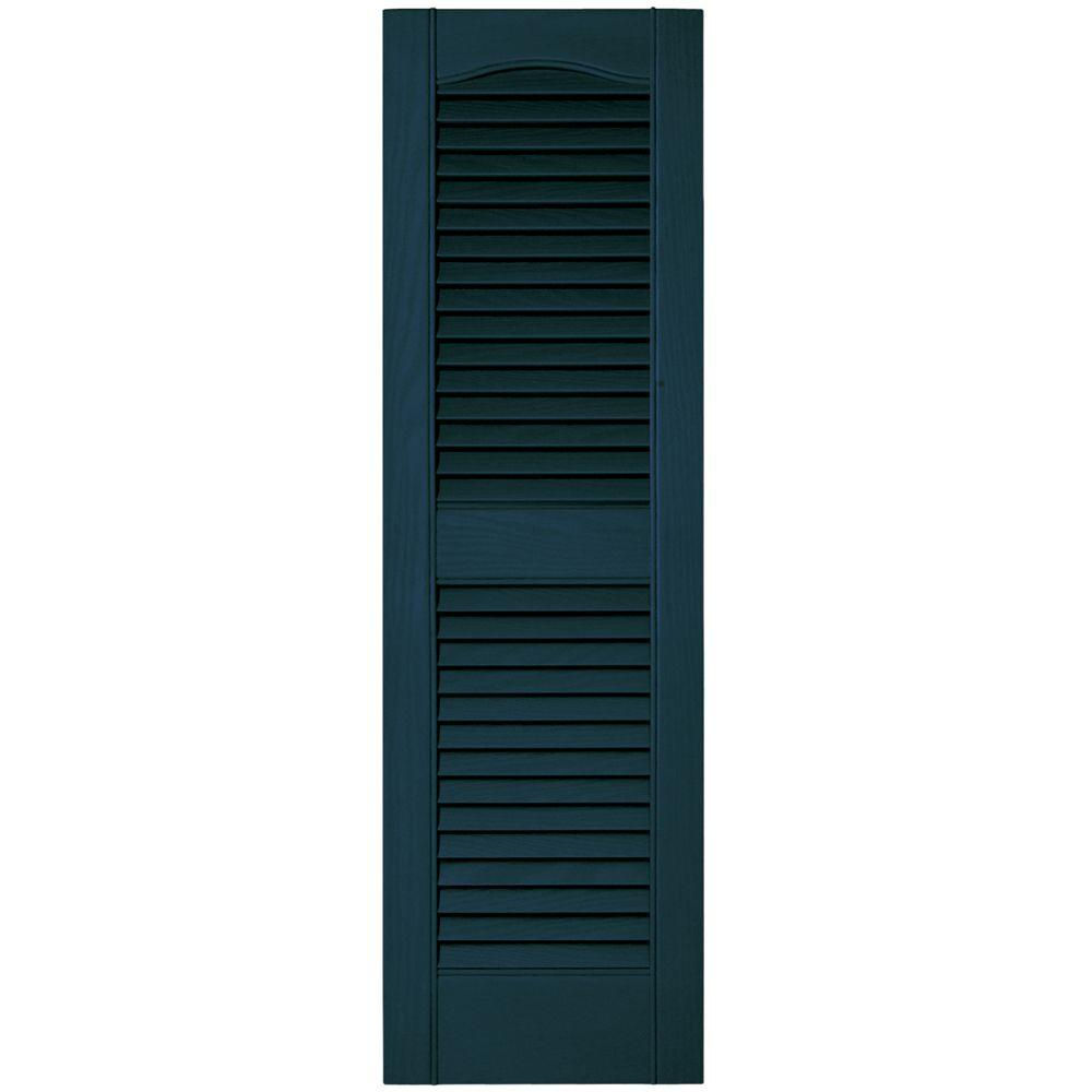 Builders Edge 12 In X 39 In Louvered Vinyl Exterior Shutters Pair 001 White 010120039001 The Home Depot Shutters Exterior Vinyl Exterior Builders Edge