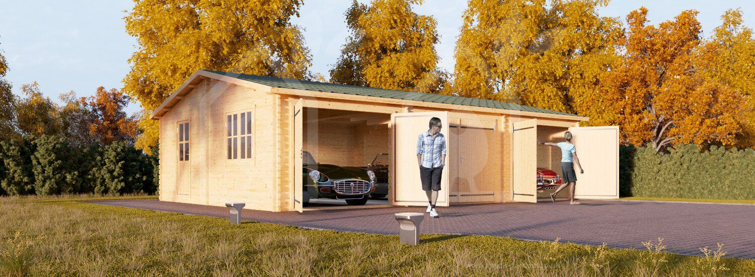 Wooden garage 9m x 6m (30 x 20) 44mm Triple Quick garden