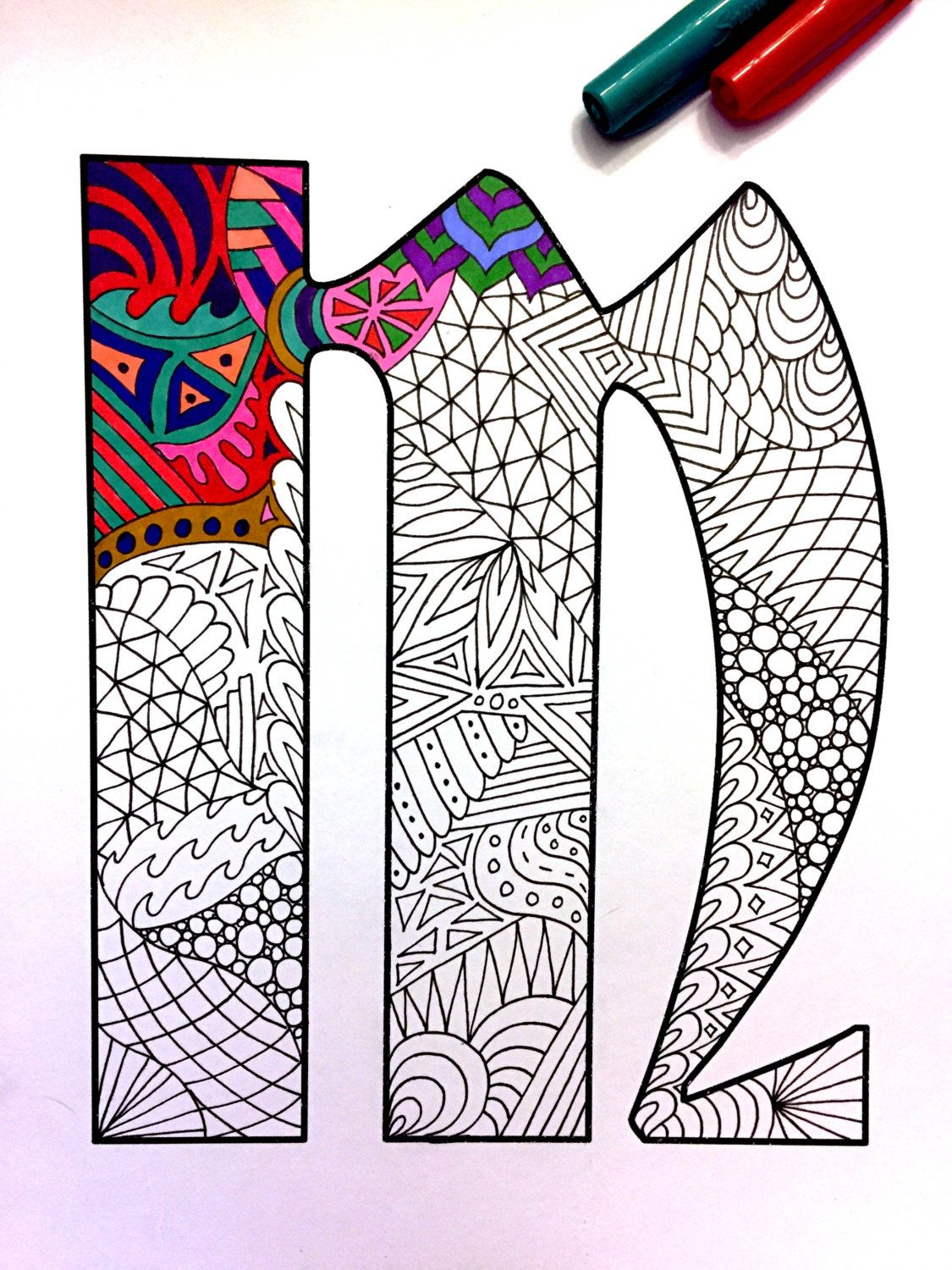 "Letter M Zentangle Inspired by the font ""Deutsch Gothic"