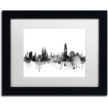 Trademark Fine Art 'Barcelona Spain Skyline B' Canvas Art by Michael Tompsett White Matte, Black Frame, Size: 11 x 14
