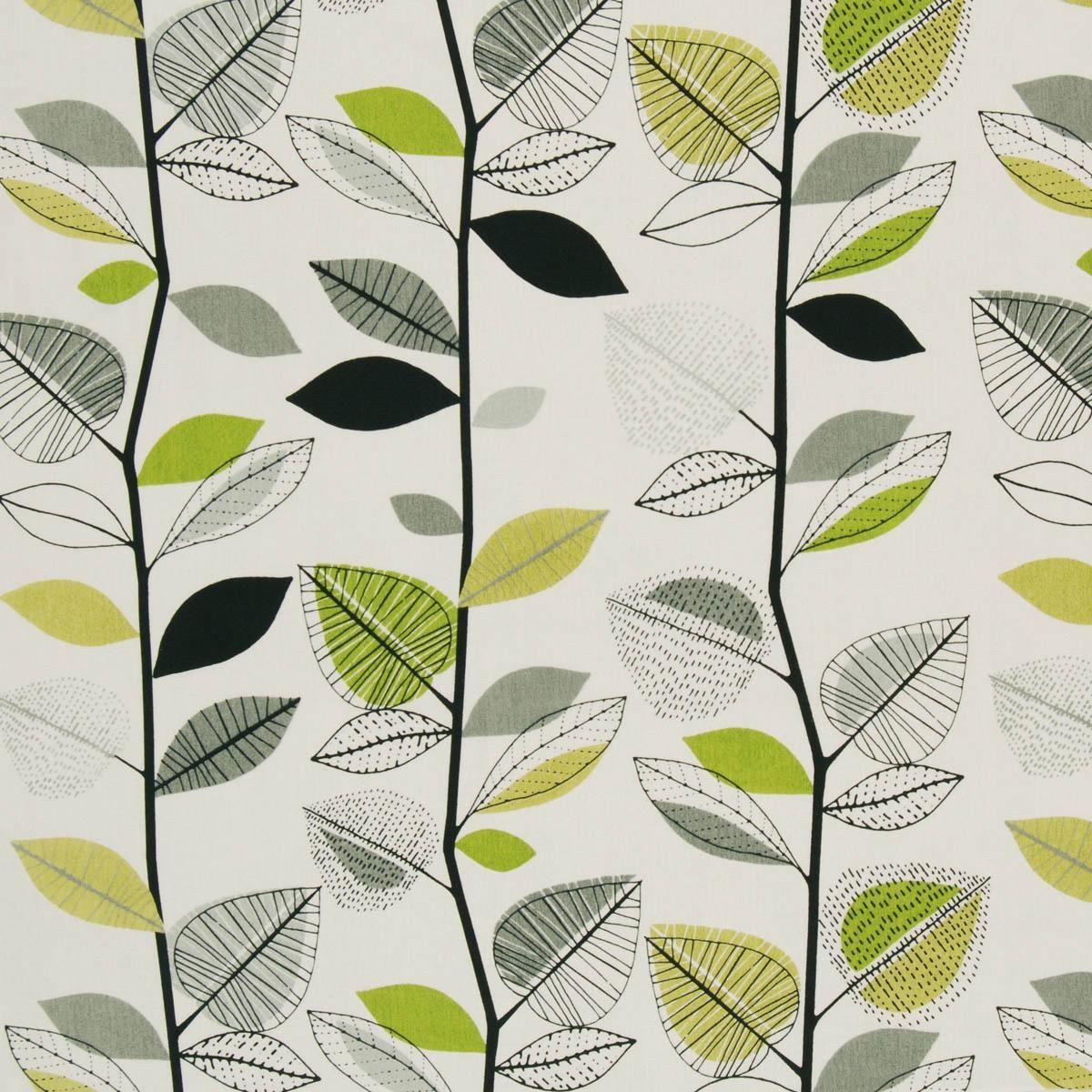 Autumn Leaves Curtain Fabric Lime | Cheap Prints & Checks Curtain ...