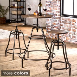 Shop for Furniture of America Gorgia 3-Piece Industrial Bar Dining Set. Get free delivery at Overstock.com - Your Online Furniture Shop!  sc 1 st  Pinterest & Shop for Furniture of America Gorgia 3-Piece Industrial Bar Dining ...
