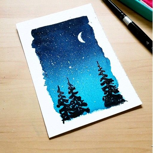 Under the moon #watercolorart