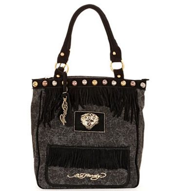 f38064d4a4d0 Ed Hardy Womens Finly Fringe Black Cotton Leather Tote