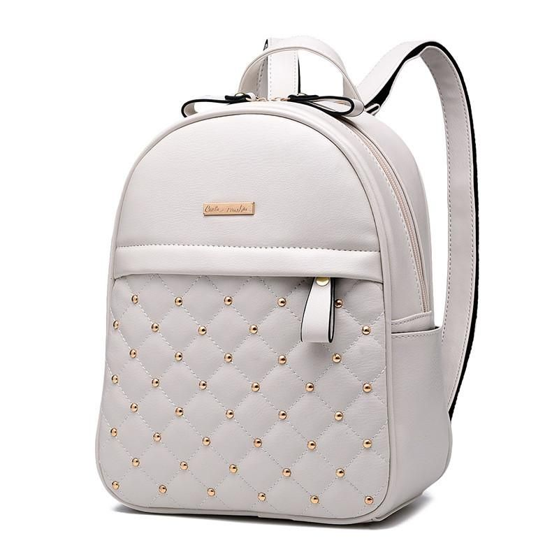Leather Button Backpack -Designer Bags for Women Ladies Teens Baliva f0bdfbad66349