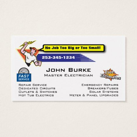 Electrician Electric Contractor Business Card Zazzle