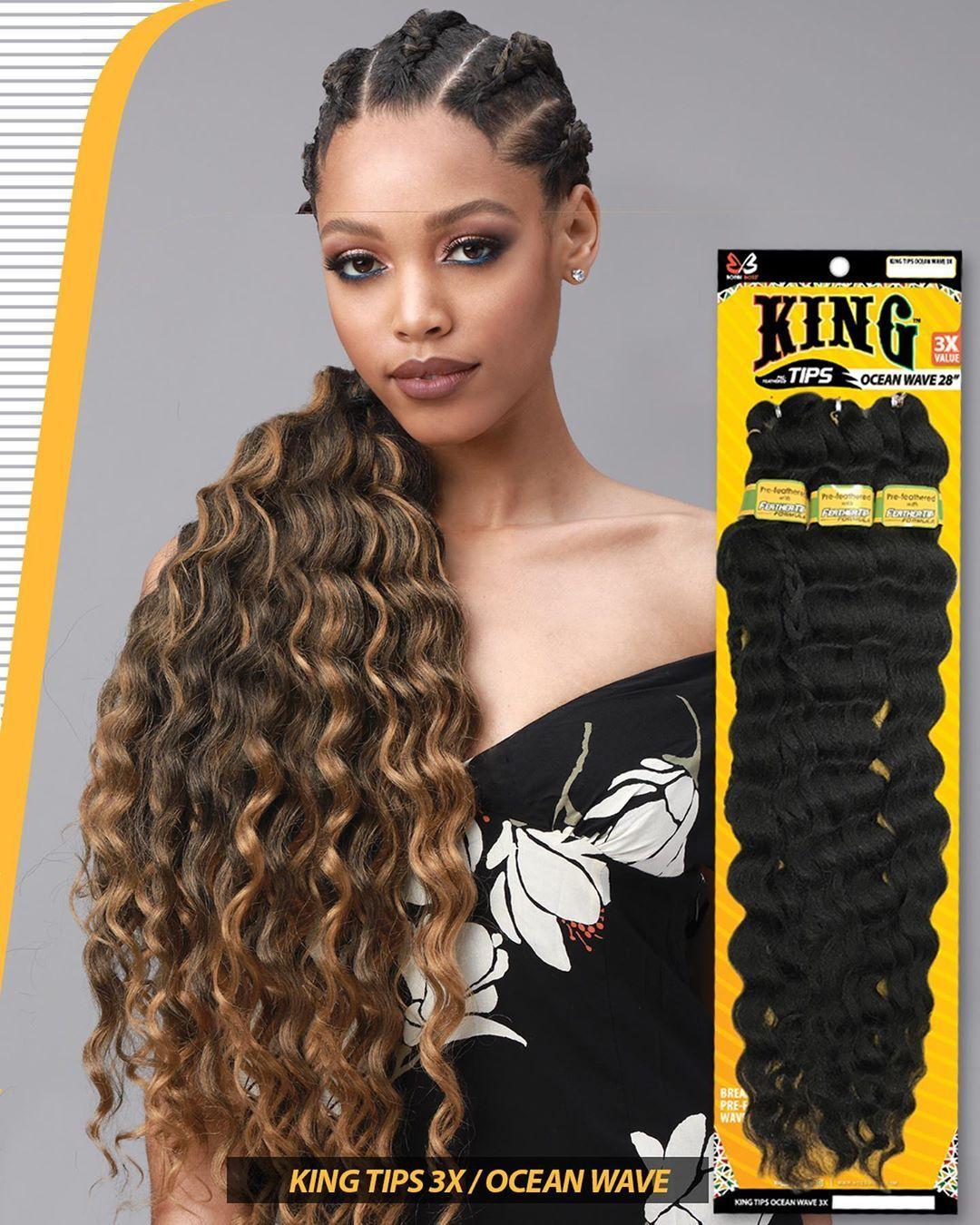 Bobbi Boss Pre Stretched Braiding Hair 3x Ocean Wave 28