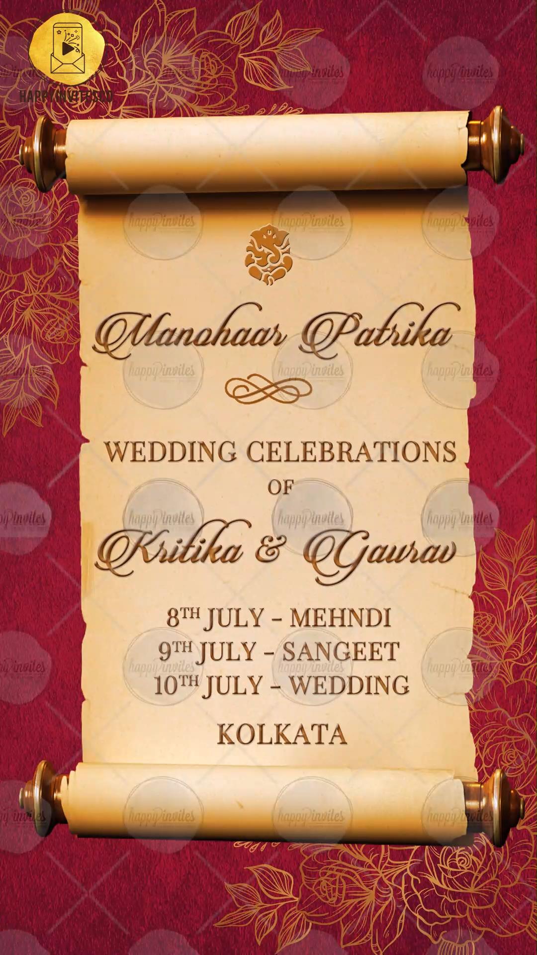 Indian Wedding Invitation Video Maker Online Happy Invites Video Video Hindu Wedding Invitation Cards Hindu Wedding Invitations Engagement Invitation Cards