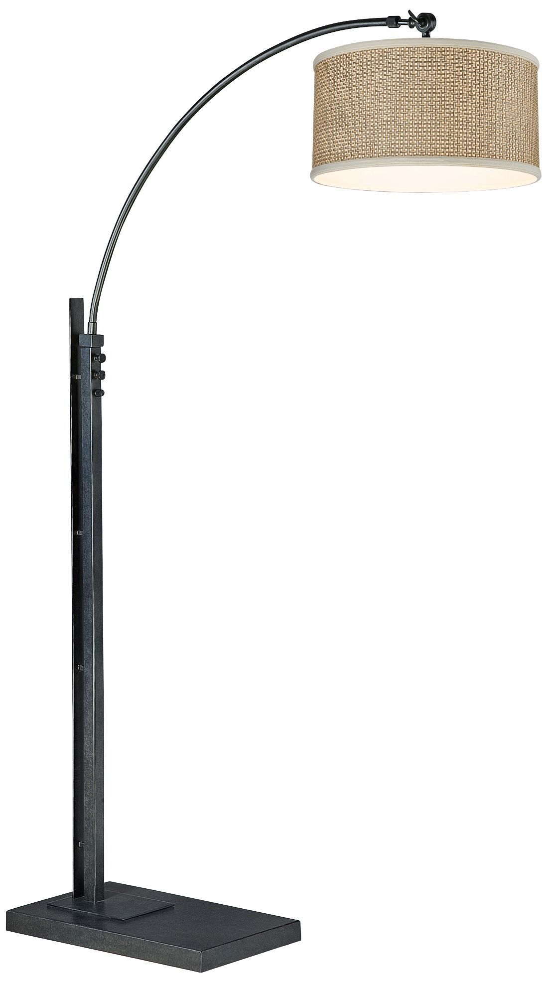Zen Rattan Shade 76 Inch H Arc Quoizel Floor Lamp   EuroStyleLighting.com
