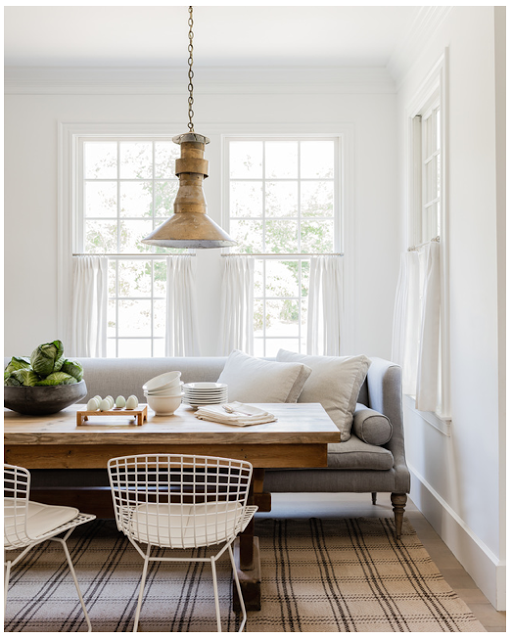 Beautiful Lisa Tharp   Ecclectic Mix, Sofa As Bench In Dining Nook, Eat In Kitchen,  Brass Pendant, White And Wood