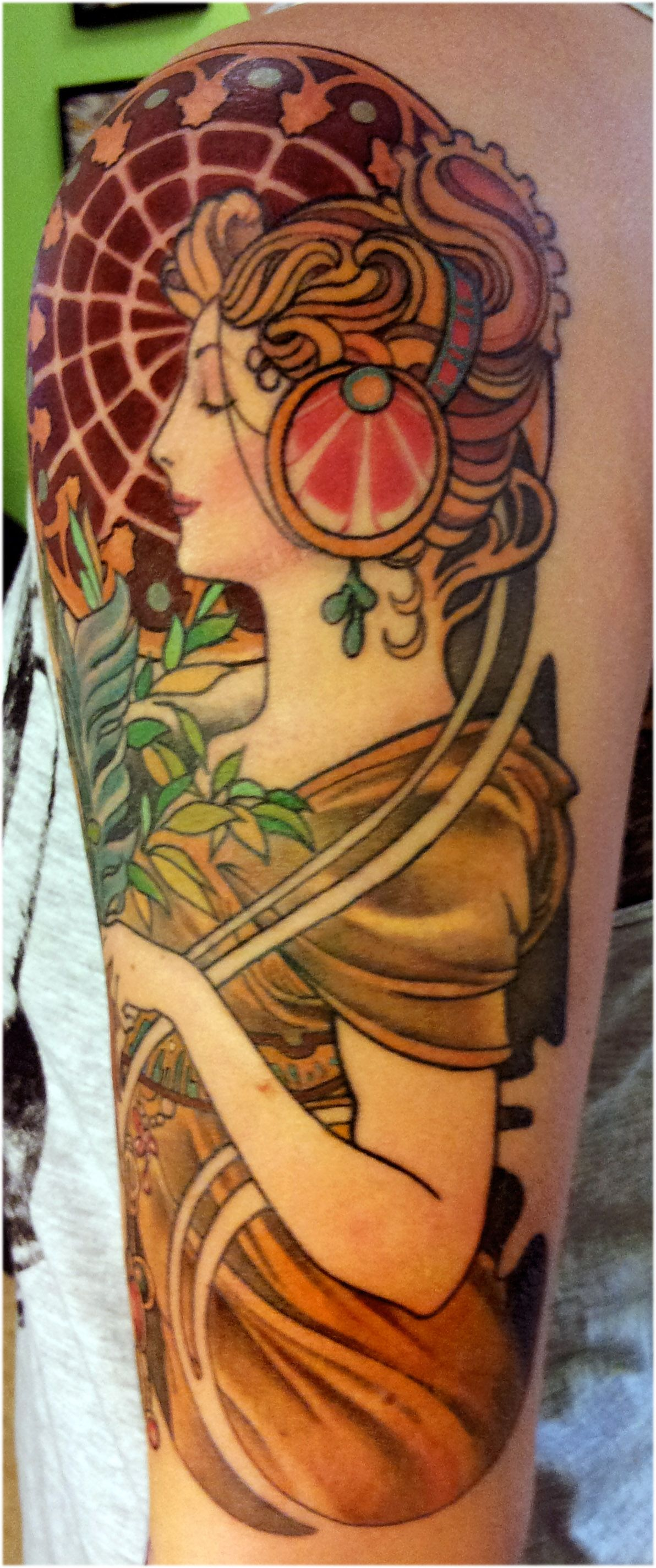Alphonse mucha tattoo the coloring is exquisite sharp