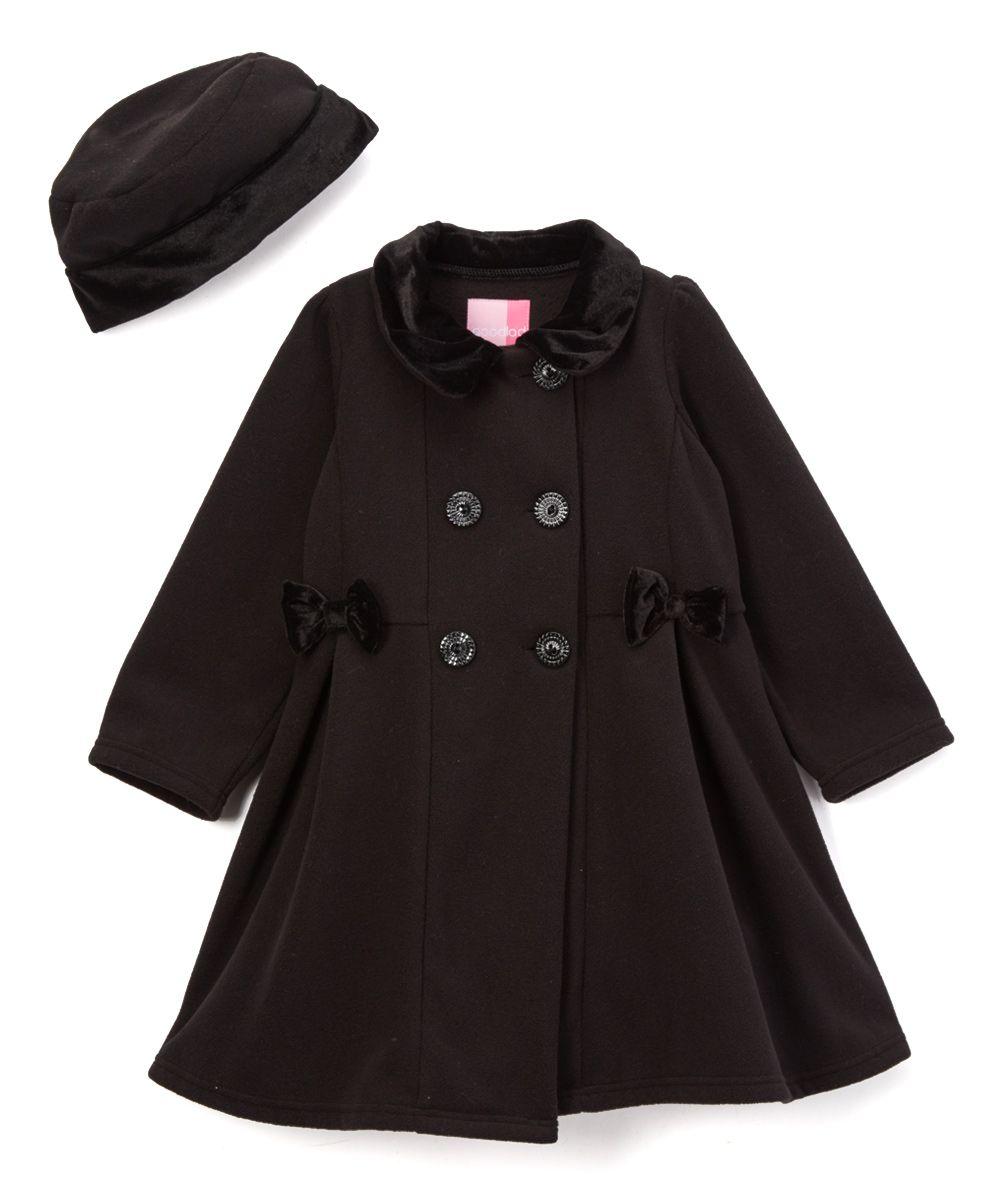 72e28cfe3 Black Double-Breasted Fleece Coat   Hat - Infant
