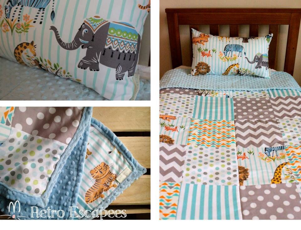 Custom crib bedding retro escapees by lukamish