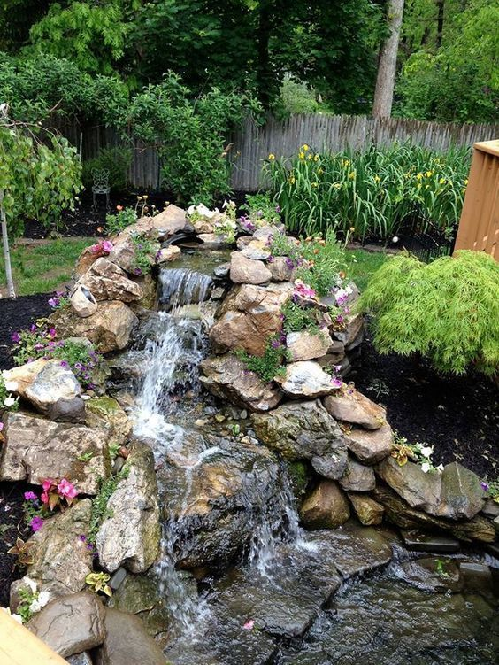 100 marvelous small waterfall pond landscaping ideas for for Tiered pond waterfall