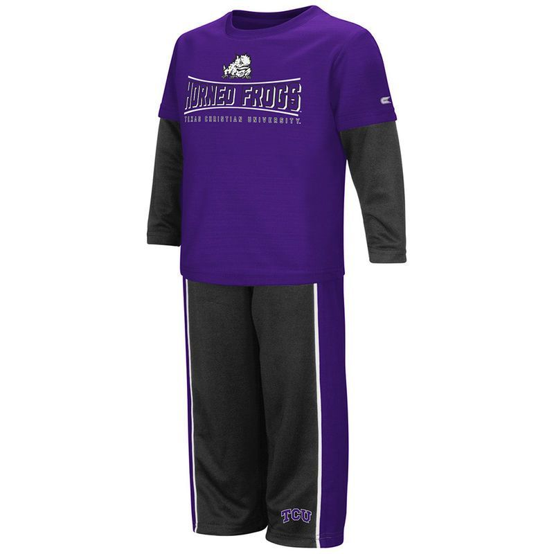 TCU Horned Frogs Colosseum Youth Pointer Long Sleeve T-Shirt and Pants Set - Purple/Black