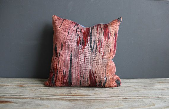 Pink Southwestern & Chambray 15 Pillow w/ Insert by OceanSwept