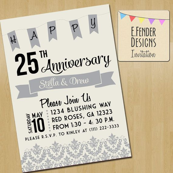 Silver Anniversary Printable Invitation with Damask accent done in ivory, black, and grey