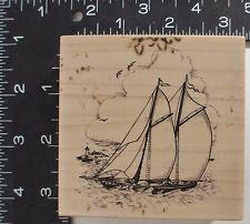 PSX G3004 Sailboat Rubber Stamp 1999 Nautical Manly All Occasion Greeting Card