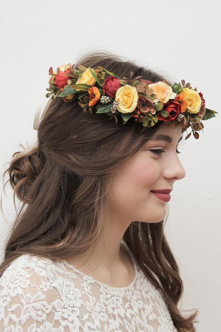 yellow headband. an autumn headpiece bridal head piece autumn wedding headband peach purple floral wedding crown a bridal headpiece