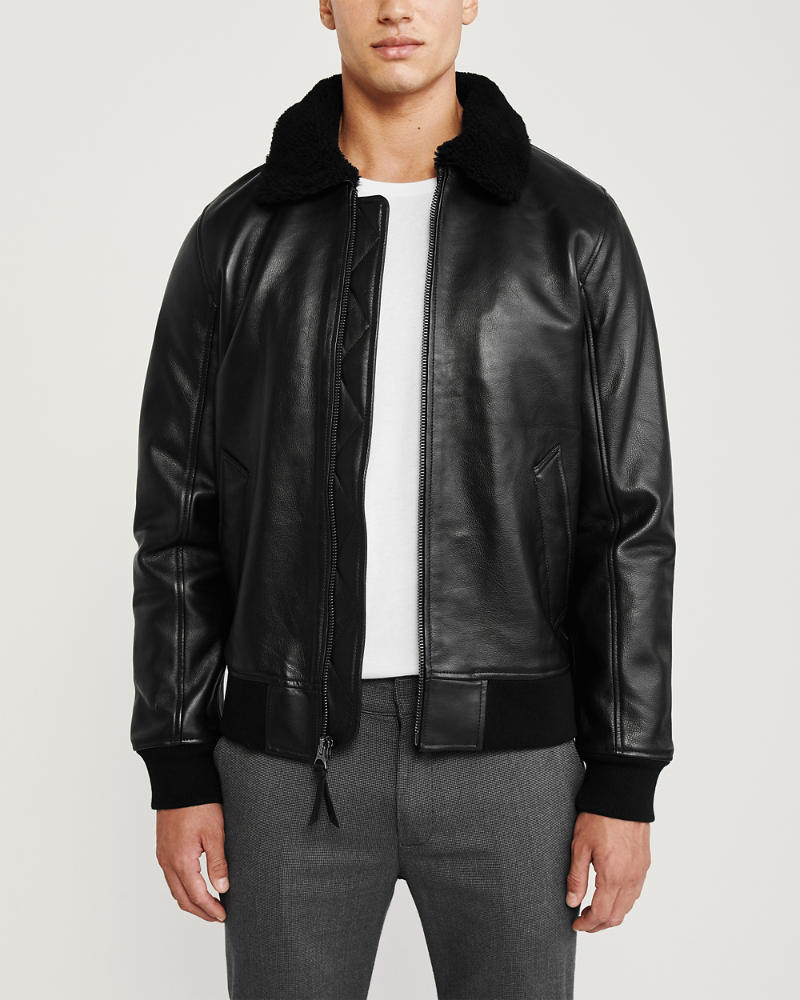 Mens Shearling Collar Leather Jacket Mens Coats Jackets Abercrombie Com Collar Leather Jacket Leather Jacket Men Leather Jacket [ 1000 x 800 Pixel ]
