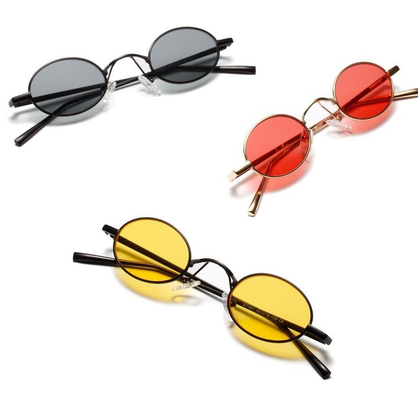 d76f77e1e43f9 Peekaboo black small oval sunglasses women retro 2018 metal frame yellow  red lens round vintage sun glasses for men uv400