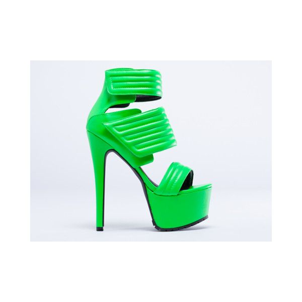 Jennifer Chou Carmelo ($70) ❤ liked on Polyvore featuring shoes, heels, neon green, famous footwear, high heel platform shoes, neon green shoes, synthetic shoes and women shoes
