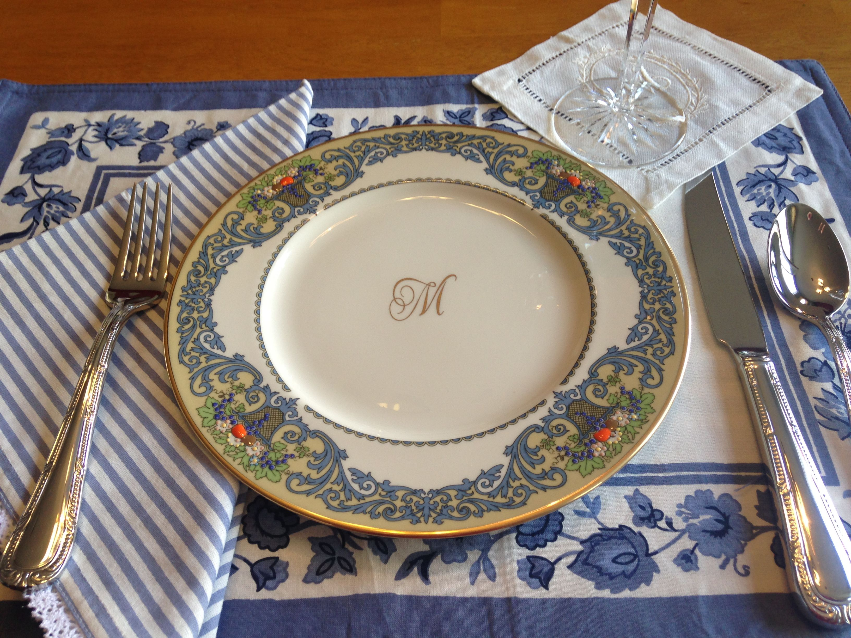 Lenox Autumn Monogrammed luncheon plate Floral blue and cream placemat Blue and white striped lace edged & Lenox Autumn Monogrammed luncheon plate Floral blue and cream ...