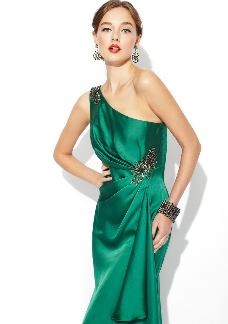 Js collections oneshoulder gathered gown formal gowns for special