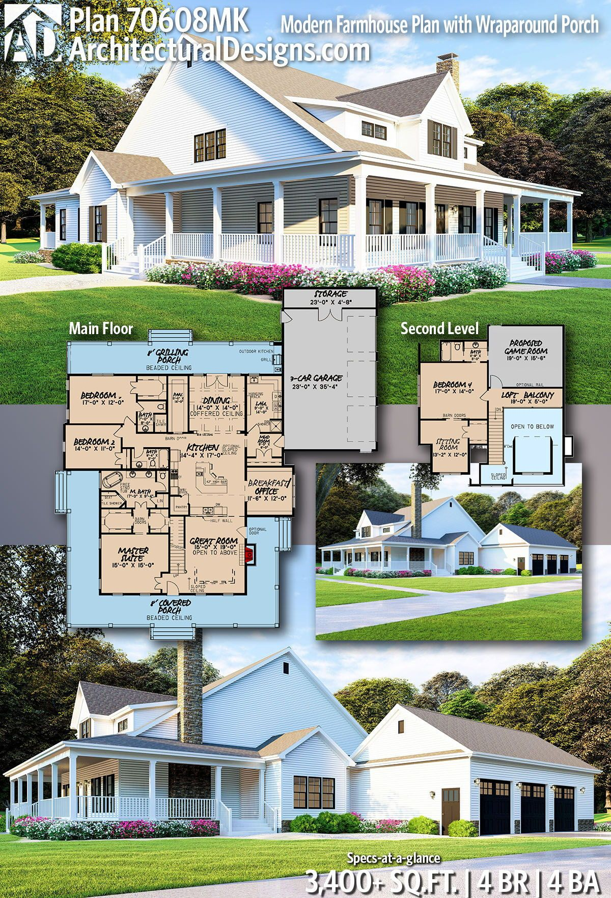 Ready when you are where do want to build mk adhouseplans modern farmhouse architecturaldesigns country home also architectural designs plan gives bedrooms rh pinterest