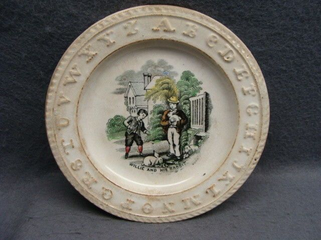 Antique Staffordshire Childs ABC Plate Willie and His Rabbit