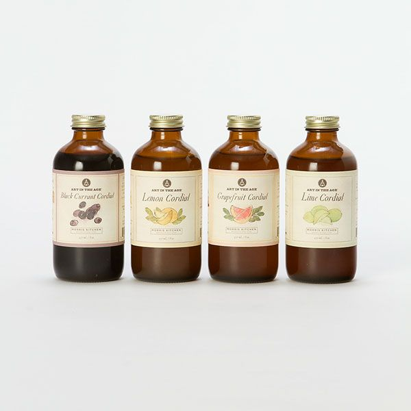 Label design for Art In The Age & Morris Kitchen Cordials