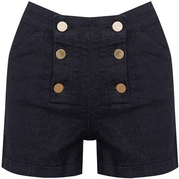 OASIS Sailor Pocket Denim Shorts (€25) ❤ liked on Polyvore featuring shorts, bottoms, denim, cutoff shorts, summer shorts, jean cutoff shorts, cut off shorts and denim shorts
