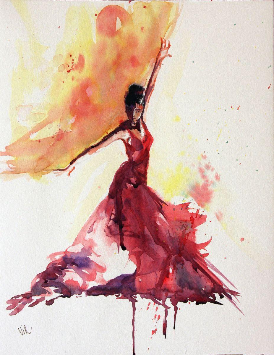 aquarelle flamenco virginie schroeder aquarelles peintures sur toulouse france croquis. Black Bedroom Furniture Sets. Home Design Ideas