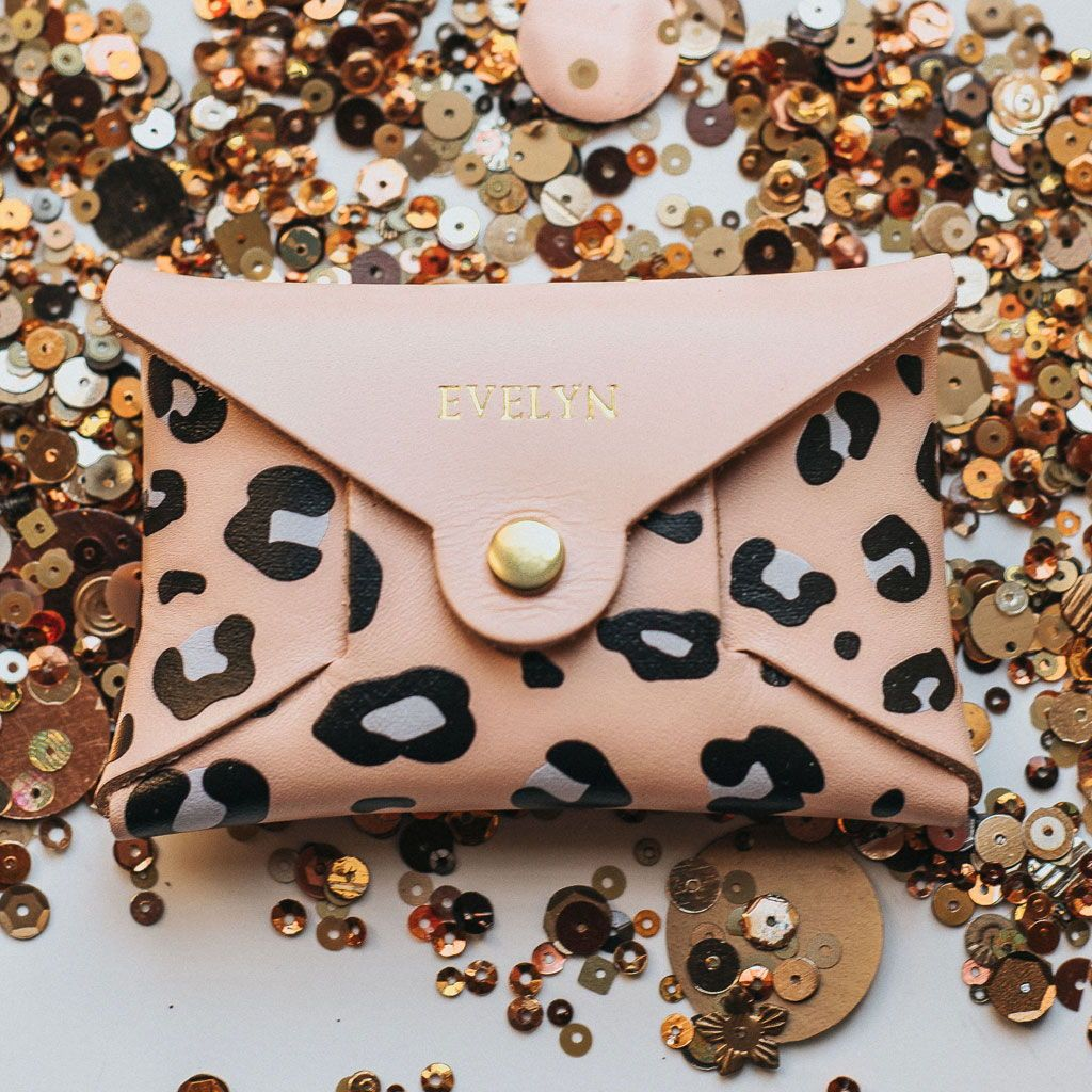 9b160f565 Personalised Pink Leopard Print Leather Coin Purse | Create Gift Love This  beautiful blush pink edition