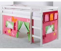 Shorty Mid Sleeper Whitewash Bed Frame With Pink Tent