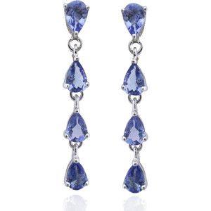 De An Sterling Silver Genuine Tanzanite Earrings