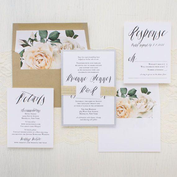 Modern Calligraphy Script Wedding Invitations, Ivory Rose Envelope